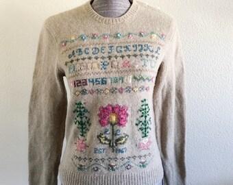 Vintage Ralph Lauren Hand Knit Sweater Est 1967 100% Wool
