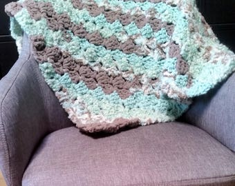 Aqua textured plush baby blanket