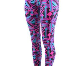 Neon UV GLOW Pink & Black Aztec Geometric Print High Waist Lycra Spandex Leggings  -E7639