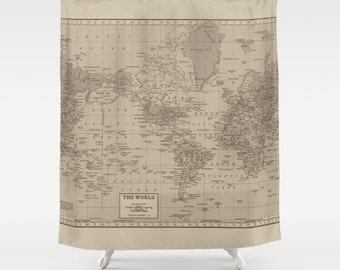 World Map Shower Curtain - Brown and tan, Earth tones, Decor vintage map - travel Home Decor - Bathroom -  warm tones