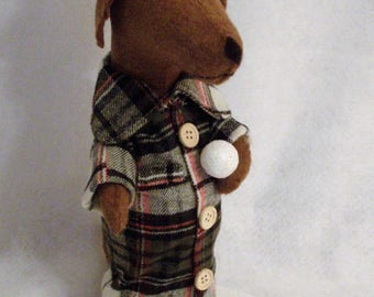 Dachshund Red Brown Let's Have a Snowball Fight Felt Sculpture Winter Decor