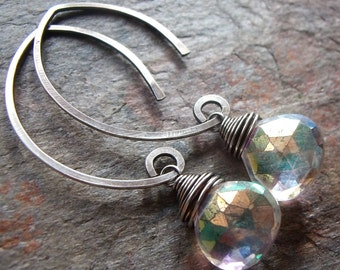 Mystic Quartz Sterling Silver Earrings - Mystic Quartz Briolettes on Handformed Sterling Silver Earwires