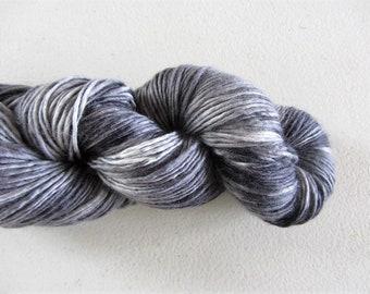 Charcoal.  Tonal dyed - Merino singles yarn