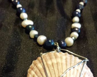pearls and white shell