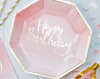 Pink Happy Birthday Plates, Pink Ombre Plates, Princes Party Plates, Happy Birthday Gold and Pink Plates