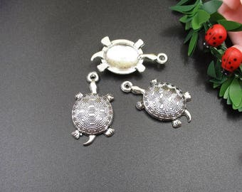 10Pcs 18x34mm Turtle Charms Antique Silver Tone- P1147-B