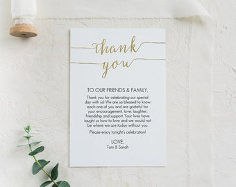 Gold Thank You card Template - Printable thank you favor cards - Instant Download - Wedding Printable - Gold Foil Thank You - 4x6 - #GD0832