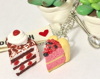 Black Forest keychain and Charlotte red fruit Fimo