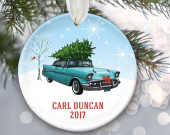 Vintage car ornament, Classic car ornament, personalized Christmas ornament of a 1957 Chevy Belair with Christmas tree on top OR830