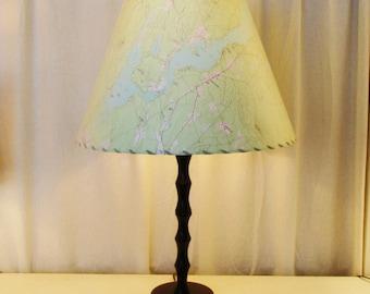 Kezar Lake Lamp Shade, Large Topographic Map Lamp Shade, Custom Maine MapShade, Kezar Lake Maine Map Lampshade, Maine Decor Memento Souvenir