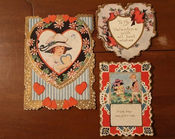 Vintage 1930s  Lot of 3 Valentine Valentines Cards Whitney Made Worcester USA