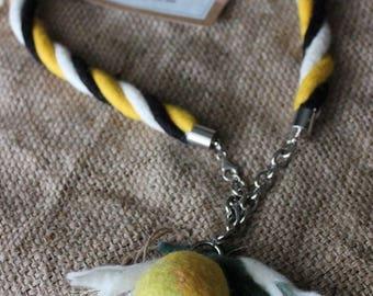 Necklace Felted  Lemon