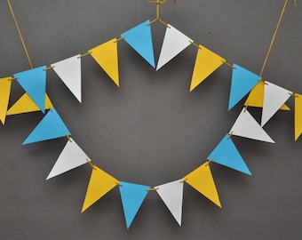 Aqua Blue Yellow Paper Banner -Party Decor -Party Decorations -Circus Garland - Birthday Decorations -Nursery Decor - Triangle Paper Garland