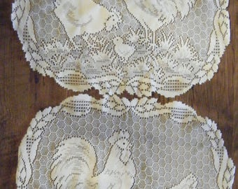 Vintage Heritage Lace Rooster Doily//Set of two Placemats