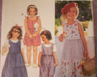 Simplicity 9527, Girl's Dress or Jumper and Romper sewing pattern