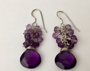 Amethyst gemstone silver dangle earrings