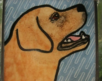 Yellow Lab side view  Stained Glass Dog Suncatcher JRN213