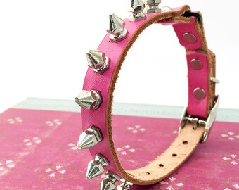 Bubblegum Pink Leather Cat Collar with Petite Silver Metal Spikes, Tough Girl Collar, Size to fit a 8-10in Neck, Seattle Handmade in USA