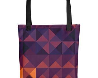 Pattern Tote Bag, Grocery Bag, Tote Bag, Market Bag, Shopping Bag, Reusable Bag, Carry On Bag, Book Bag, Navy, Melon, Sunset, Gift for Her