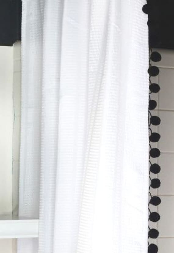 white cotton waffle weave shower curtain with black pom poms. Black Bedroom Furniture Sets. Home Design Ideas