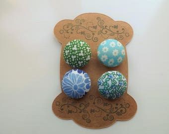 Fabric Covered Buttons - Blue and Green Florals