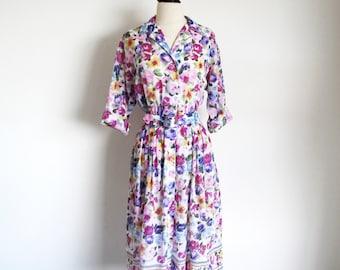 Vintage 70s Shirtwaist, Flower Print Day Dress
