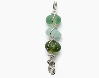 Green Sea Glass Stacked Pendant, Sterling Silver, Wire Wrapped Beach Glass Necklace, Artisan Jewelry, Unique Silver Jewelry