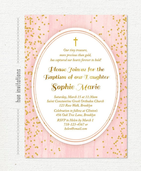 Blush pink and gold glitter baptism invitation chic modern stopboris Choice Image