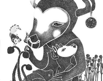 Illustration- Black and white deermother meditation drawing print