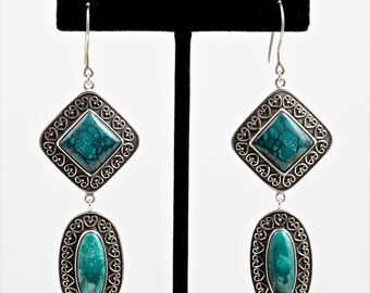 Turquoise 103- Earrings - Sterling Silver & Turquoise