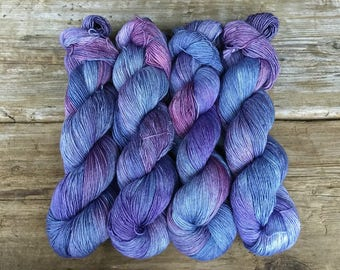 Hand Dyed Merino Silk with a Twist Fingering Yarn 100 gms 438 yds: FAITH Cornflower Blue Purple Blue Lavender Lilac next to skin soft