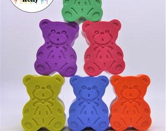 Teddy Bear Crayons, Bear Party Favours, Crayon Gift, Birthday Gift, Birthday Favours,| Bear Wedding Favour, Bear Hunt Crayon, Novelty Crayon