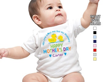 Happy Mother's Day - No One Loves me Like my Mommy - Bodysuit - Boys - Personalized with Name