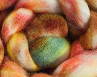 Hand Dyed Merino Wool Combed Top, 4oz, in Burnt Orange
