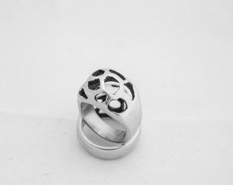Modern Fashion Forward Pointer or Pinkie Brass Ring with Abstract Holes