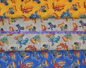 Camelot Fabrics. Skylanders. Action in Sunshine, Stone, and Royal - Stealth Elf, Eruptor, Trigger Happy, Gill Grunt - cotton woven fabric