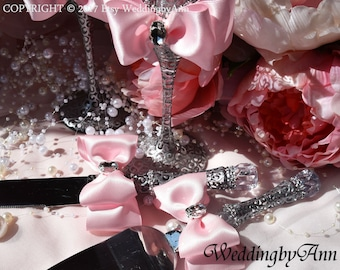 Blush Pink and Silver Cake Serving Set, Blush Wedding, Boho Wedding,  Cake Knife Set, Wedding Cake Accessories, Bridal shower gift