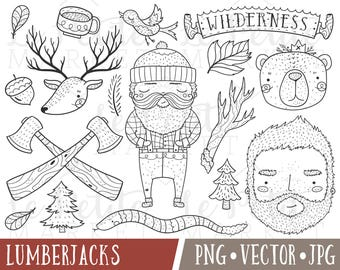 Cute Lumberjack Clipart Images, Wilderness Clipart, Lumberjack Clip Art, Lumberjack Illustrations #PNW Deer Bear Clipart, Camping Clipart