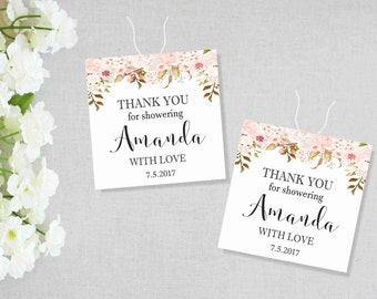 """Botanic Bridal Shower Tags, Bridal Shower Favor Tags, Thank You for Showering With Love, Party Favor Tags, Printable tags 2.25"""" x 2.25"""", AC"""