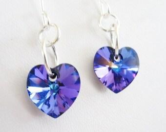 Swarovski Crystal Heart Earrings, Ultra Violet Purple Heart Earrings, Valentine's Earrings Valentine's Day Gift For Girlfriend, Gift For Mom
