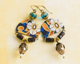 Earthy Unique Vintage Tin Earrings with Vintage Wood Beads and Blue Czech Glass Beads, White Flower Earrings, Tin Jewelry