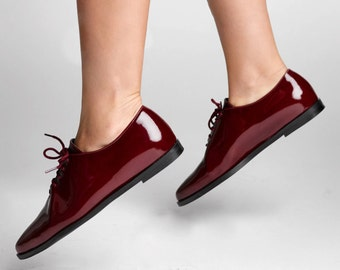 50% SALE - Burgundy Women Oxford Shoes - Flat Lace Shoes - Laceup Oxfords - Red Leather Shoes - Leather Women Flats - Glossy Leather Shoes