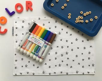 Kids Coloring Placemat (Star Placemat, Color Me Kit For Kids, Coloring Placemat With Markers, Cloth Placemat, Easter Gift, Quiet Activity)