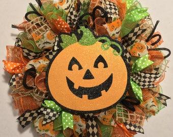 Halloween Wreath, Fall wreath, Pumpkin Wreath, Fall Wreaths,  Halloween door wreath, wreath pumpkin fall orange green black wreaths wreath