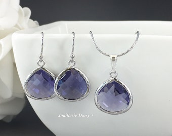Purple Jewelry Bridesmaid Jewelry Bridesmaid Gift Purple Wedding Bridesmaid Necklace Jewelry Set