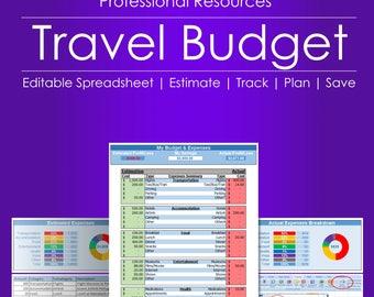 Travel Budget Calculator - Editable Spreadsheet