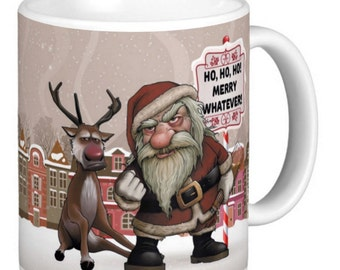 Christmas, Bad Santa Christmas Mug, Christmas Santa And Reindeer, Mean Santa, Bad Reindeer, Bad Santa And Reindeer