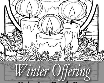 Printable Coloring Book Page for Adults - Winter Advent Candles with Holly Leaves and Pine Christmas Yule Noel Art Nouveau Style Line Art