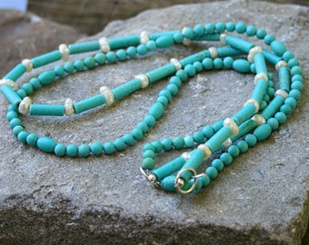 Two strands magnesite and baroque pearls necklace with handmade sterling silver clasp
