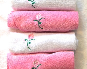 Embroidered 4 Baby Washcloths Set of 4 Pink and White Cloths with White Rose Flowers - Ready to Ship
